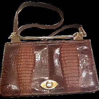 VIntage crocodile alligator shoulder bag from 70's