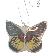 Lucite butterfly necklace
