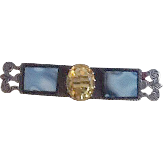 Antique agate and silver bar pin