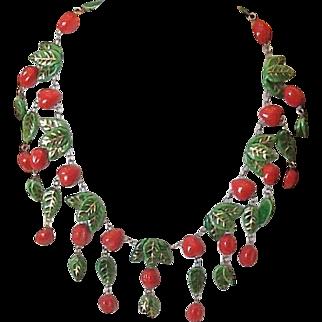 Vintage cherry pottery necklace