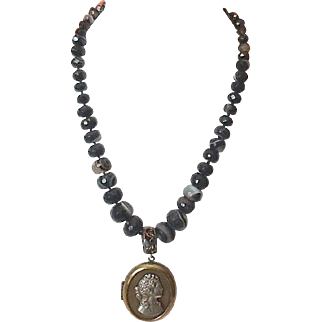 Agate glass locket necklace