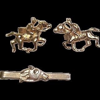 50's Cufflinks and tie clip set