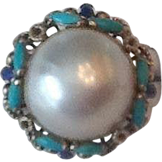 Large 14k Mobe pearl,turquoise and lapis ring
