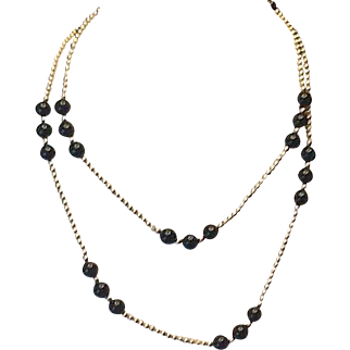 14k Gold and Onyx bead necklace