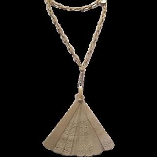 Vintage celluloid fan necklace