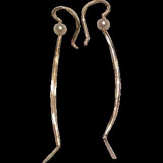14K pierced earrings with cultured pearl