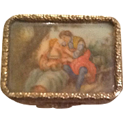 Charming Italian pill box with handpainted picture.