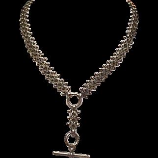 Victorian silver plate bookchain necklace