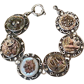Sterling and mother of pearl button bracelet