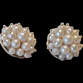 VIntage 14k cultured pearl clip earrings