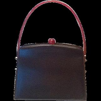 VIntage leather and plastic handle purse