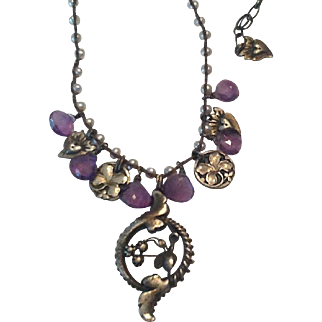 Silver,pearl, and amethyst necklace