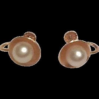 14K screw back pearl earrings