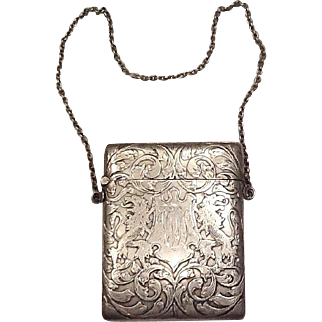 Sterling card case with chain