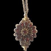 Antique garnet and brass necklace
