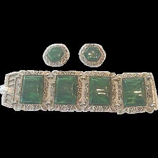 Vintage bracelet and earring parure