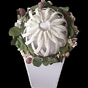 Vintage nylon straw and flower hat