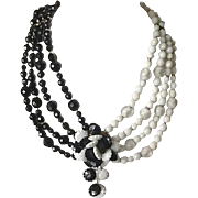 Vintage glass black and white bead necklace
