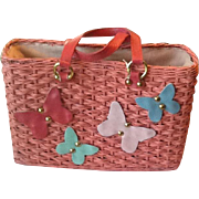 50's Pink Straw bag with leather butterflies