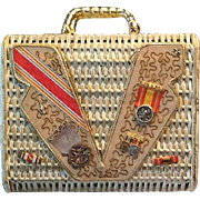 50's White Straw bag with medals