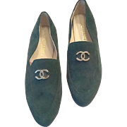 Faux Chanel green suede women's loafers