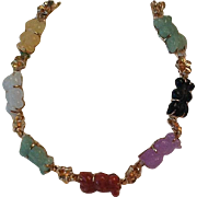 14K and multicolored carved stone bracelet