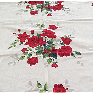 Large vintage cotton tablecloth with red roses