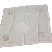 Vintage linen and handwork tablecloth and napkins