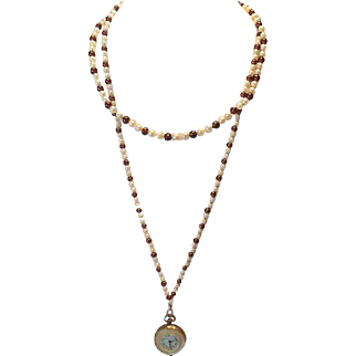 Cultured pearl and red bead mother of pearl watch necklace