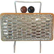 Rhinestone ,silver and wood evening bag