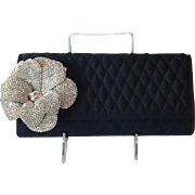 Beautiful Rhinestone flower quilted evening bag