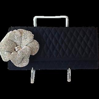 Beautiful Rhinestone flower quilted evening bag