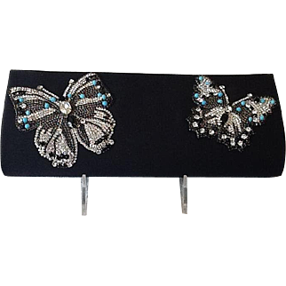 Beautiful rhinestone butterfly evening purse