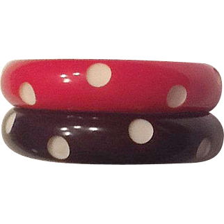 Pair of plastic carved bracelets