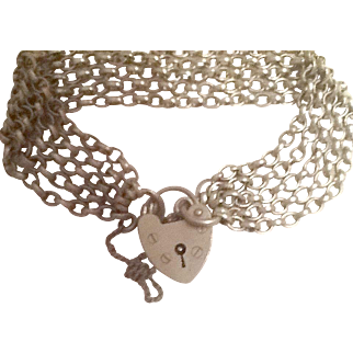 English silver heart closure bracelet