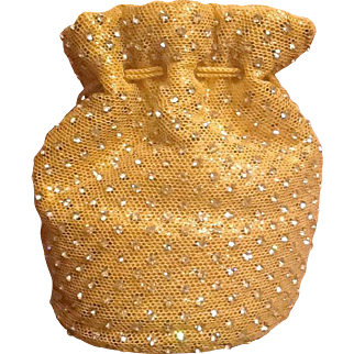 Vintage rhinestone and gold fabric purse