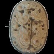 Victorian carved bone flower brooch