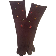 Long Suede embroidered gloves