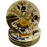 Antique English Coalport Porcelain Plate, Thumb and Finger's Pattern. 6 Available.