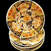 Antique English Coalport Porcelain Plate, Imari Pattern,  6 Available.