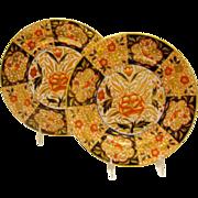 A PAIR Of Antique English Coalport Porcelain Imari Plates