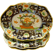 Antique English Coalport Porcelain Oval Dish.  4 are available.