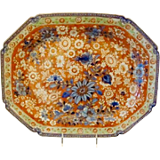 "Antique Chinese Porcelain ""Clobbered"" Platter"