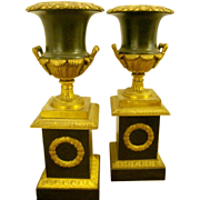 A Very Fine PAIR Of Empire Bronze and Tole Urns, Circa 1820