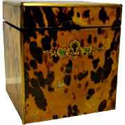 Antique English Regency Tortoiseshell Tea Caddy