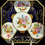 Antique English Coalport Porcelain Square Shaped Dish