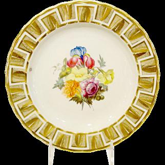 Antique English Derby Porcelain Plate, William Quaker Pegg