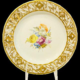 Antique English Derby Porcelain Plate.  William Quaker Pegg.