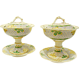 A very fine PAIR of antique English Chamberlain's Worcester porcelain raised compotes.