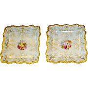 A PAIR of English Flight Barr and Barr Worcester Porcelain Square Shaped Dishes